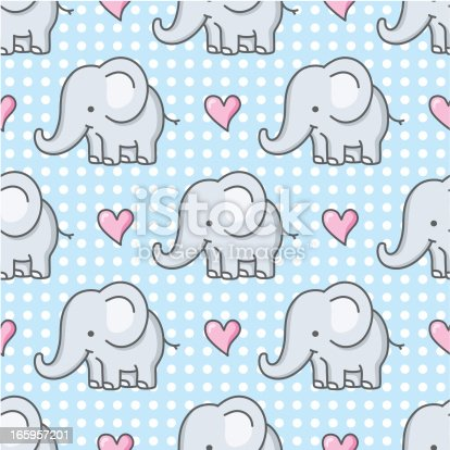 istock baby elephant seamless pattern / cartoon 165957201