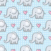seamless pattern with cute baby elephants and hearts