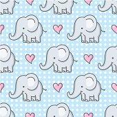 istock baby elephant seamless pattern / cartoon 165957201