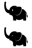 Cute baby elephant  silhouette in vector