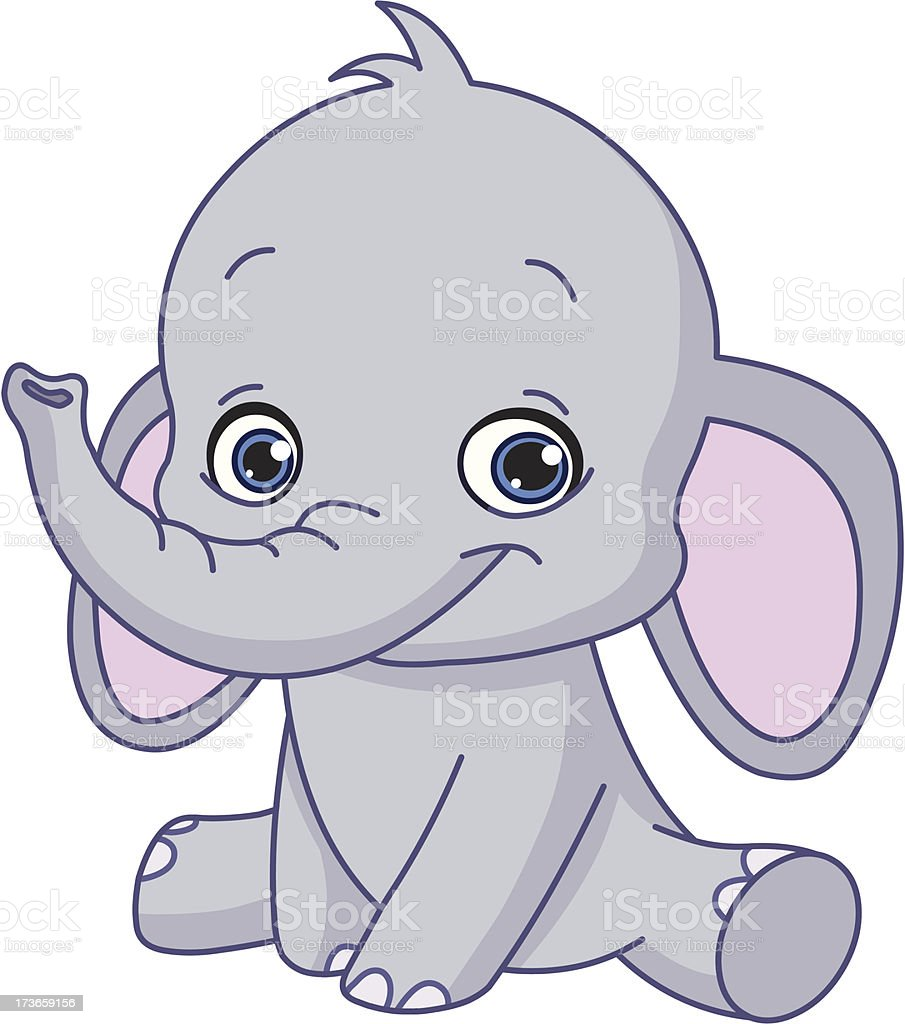 Baby elephant vector art illustration