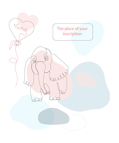 Baby elephant with a heart balloon and the inscription love