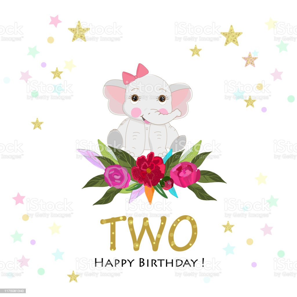 Baby Elephant With Colorful Roses Second Birthday Greeting