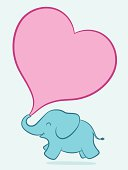 Baby elephant with pink heart