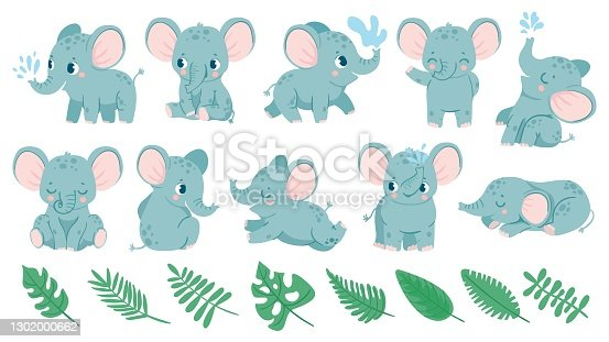 istock Baby elephants. Cute cartoon animal and tropical leaves. Baby shower elephant sleeps, sits and does water jet. Nursery decoration vector set 1302000662