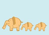 Baby Elephants Following Mother Elephant