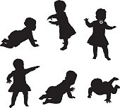 A vector silhouette illustration of a baby exploring her movement by crawing, walking, and standing.