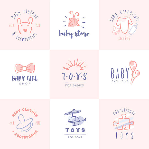 baby emblem. - bodysuit stock-grafiken, -clipart, -cartoons und -symbole