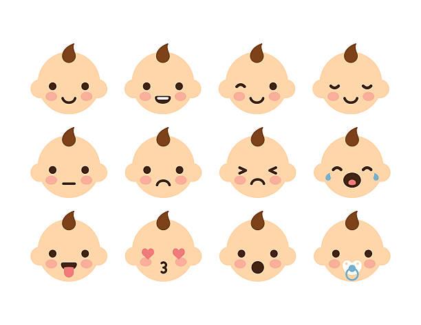 stockillustraties, clipart, cartoons en iconen met baby emoticons - baby