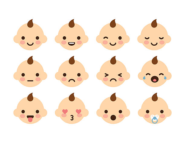 stockillustraties, clipart, cartoons en iconen met baby emoticons - mensentong