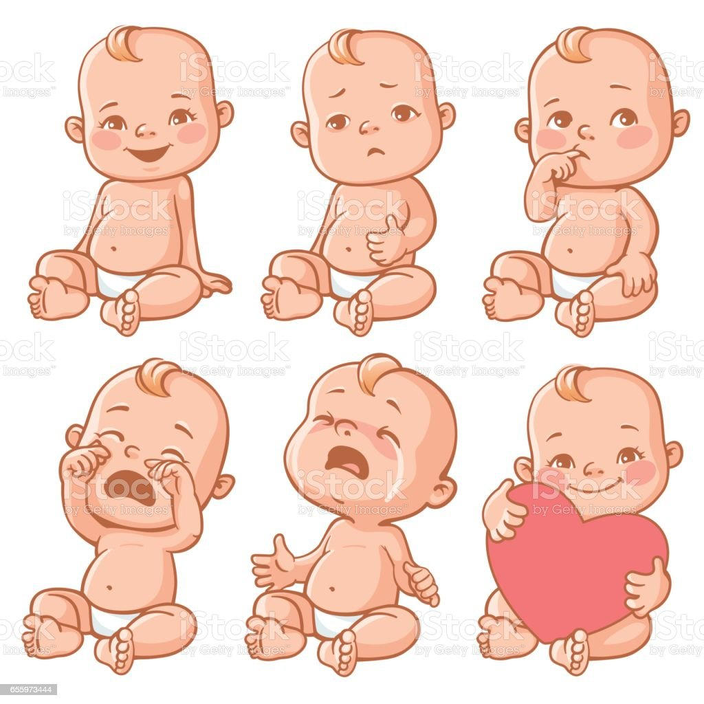 Baby emotions set. vector art illustration