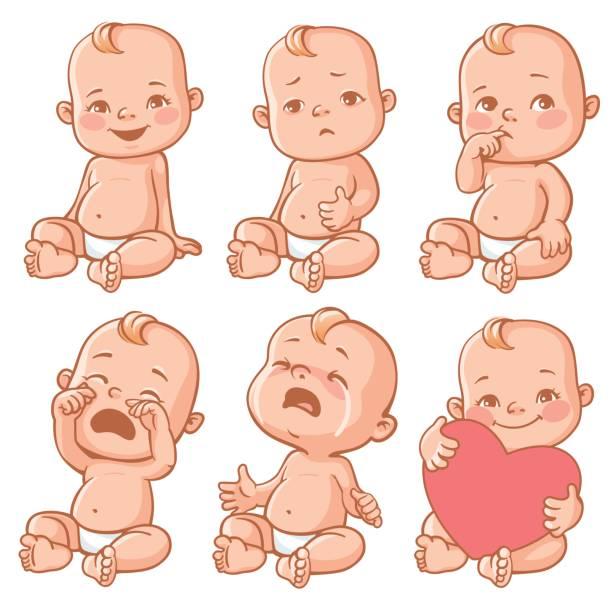 Baby emotions set. vector art illustration