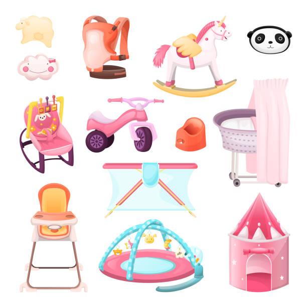 ilustrações de stock, clip art, desenhos animados e ícones de baby essentials goods set. vector icons and design elements. color kids stuff for playing, feeding, nursery. - unicorn bed