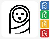 Baby Face Icon. This 100% royalty free vector illustration features the main icon pictured in black inside a white square. The alternative color options in blue, green, yellow and red are on the right of the icon and are arranged in a vertical column.