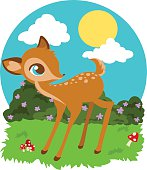 Baby fawn with flowers and mushrooms.