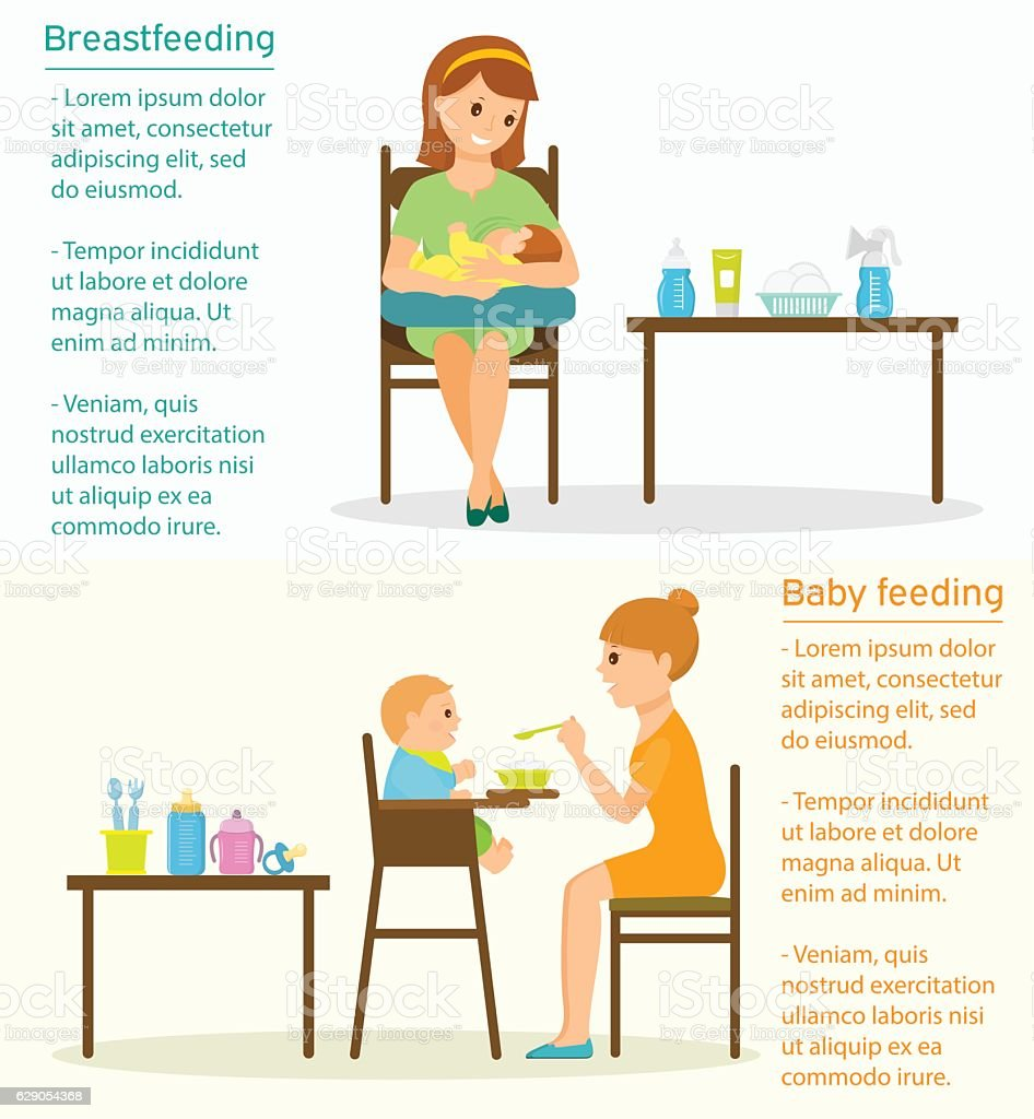 Baby feeding template with place for text. vector art illustration