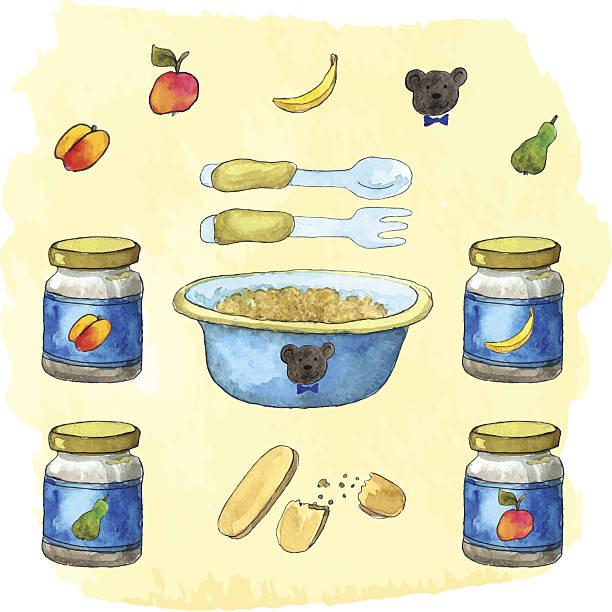 illustrazioni stock, clip art, cartoni animati e icone di tendenza di bambino nutrizione cose - pesche bambino