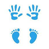 Baby feet and hands icon vector. Kid footprint and handprint clipart silhouettes.