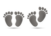 Baby feet icon flat element isolated on white background. Element for your design. Vector illustration