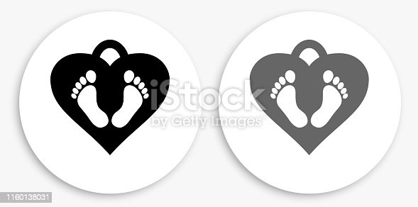 Baby Feet Tag Black and White Round Icon. This 100% royalty free vector illustration is featuring a round button with a drop shadow and the main icon is depicted in black and in grey for a roll-over effect.