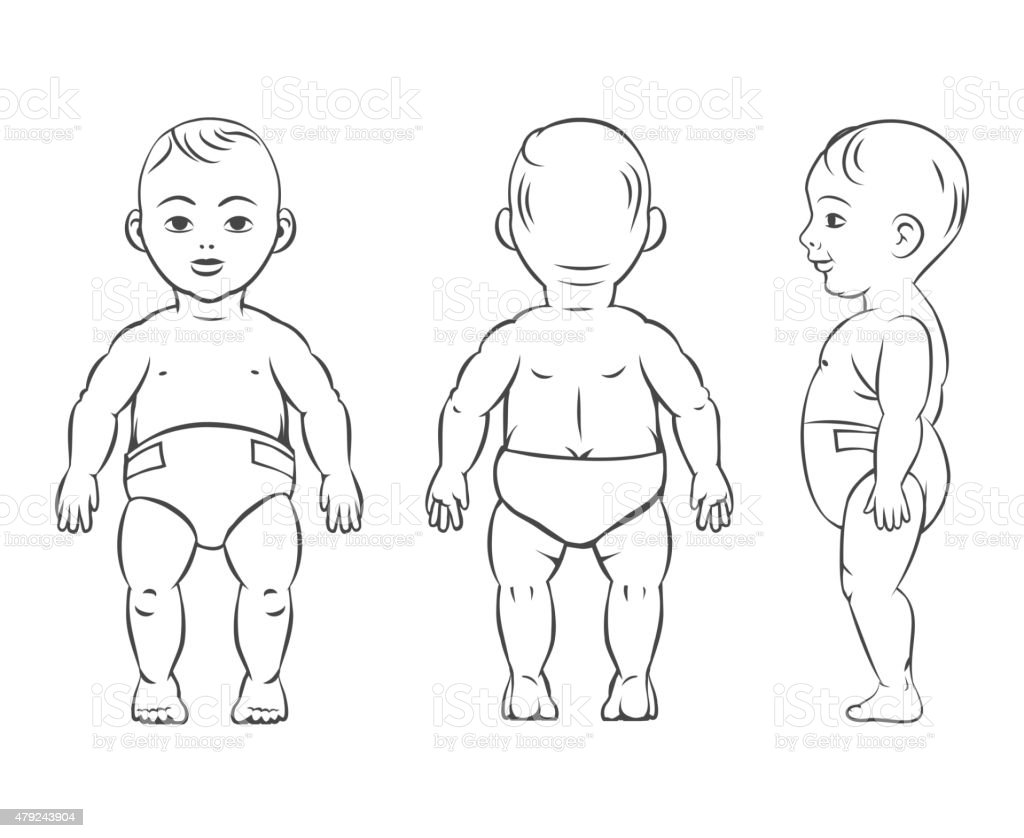 Baby Figure Front Side And Back View Stock Vector Art