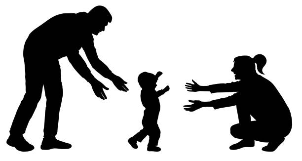 baby erste schritte silhouette vektor. familien-event baby geht zu mama - toddler stock-grafiken, -clipart, -cartoons und -symbole