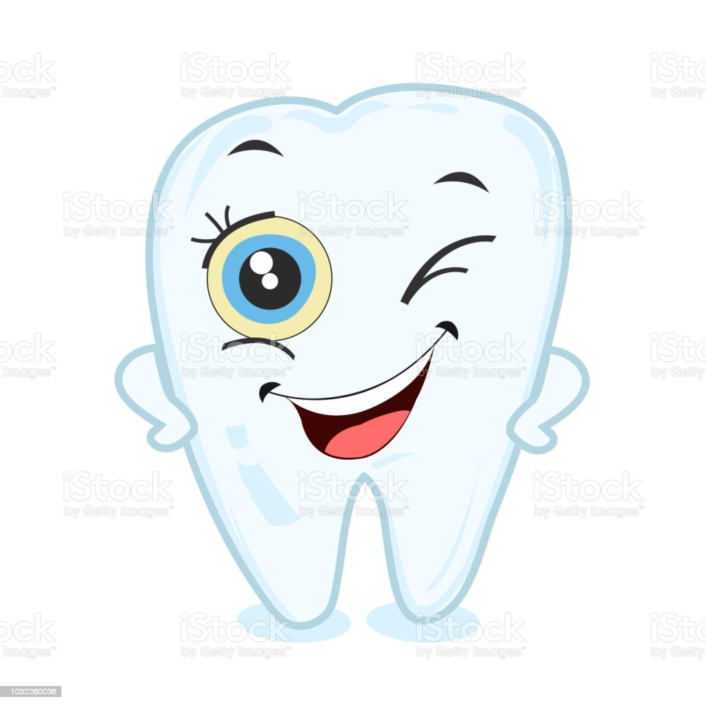Baby first tooth winking smiling tooth vector art illustration