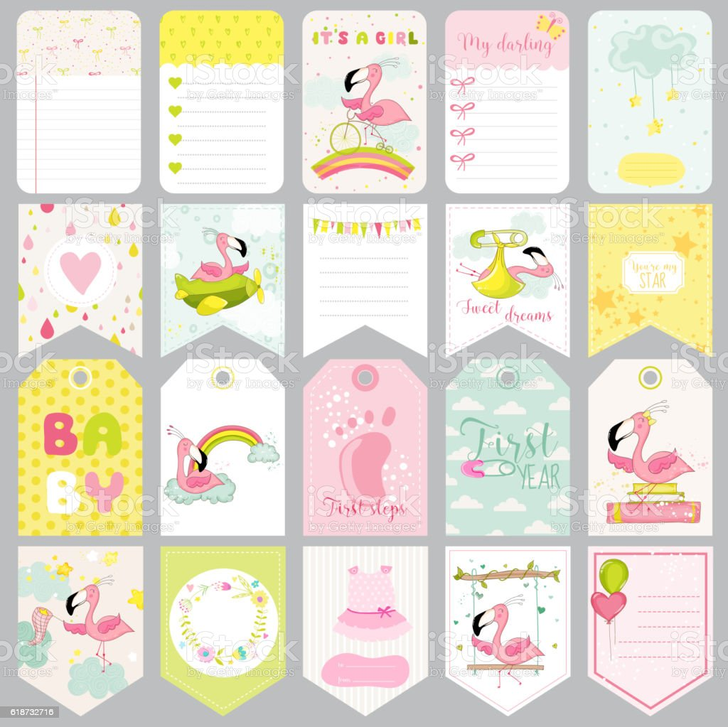 Baby Flamingo Tags Baby Banners Scrapbook Labels Cute Cards Stock
