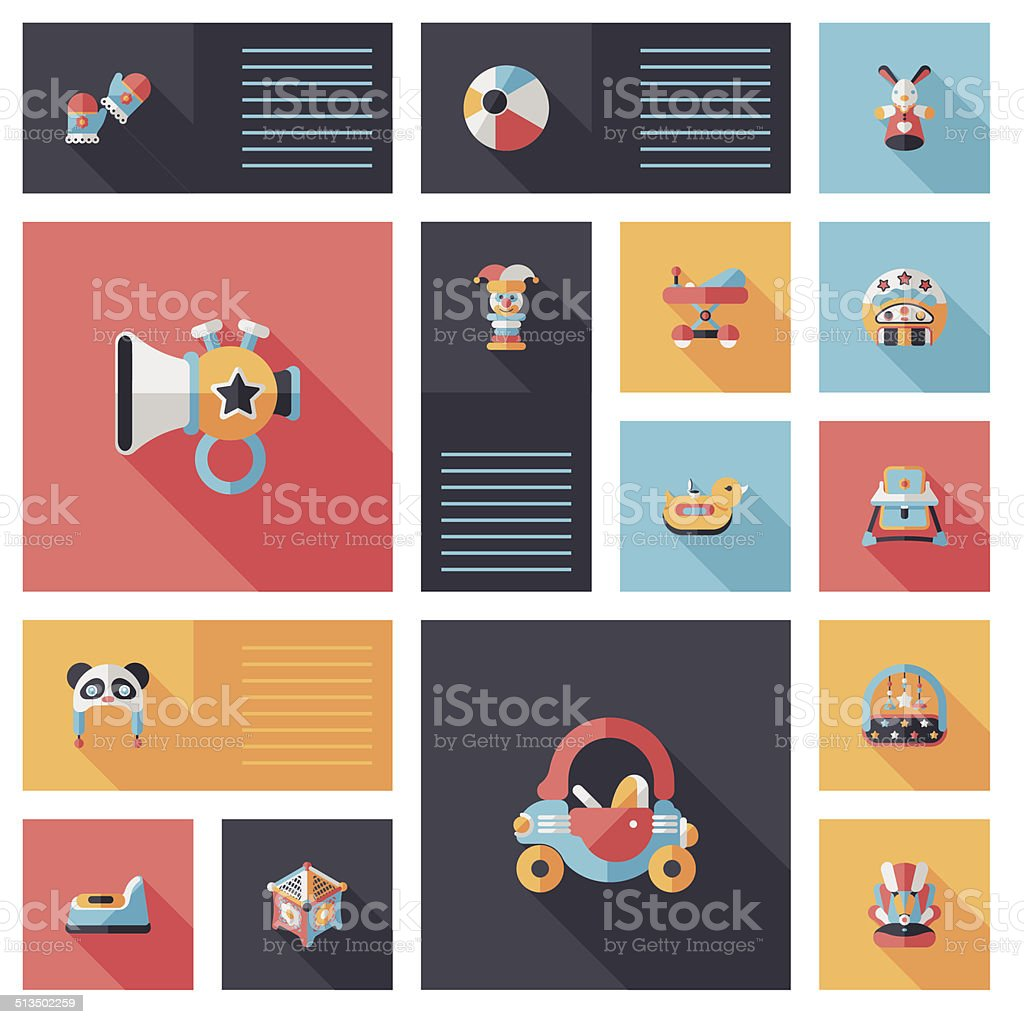 baby flat ui bakcground set vector art illustration