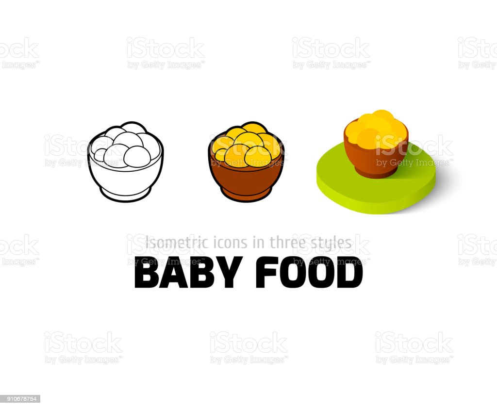 Baby food icon in different style vector art illustration