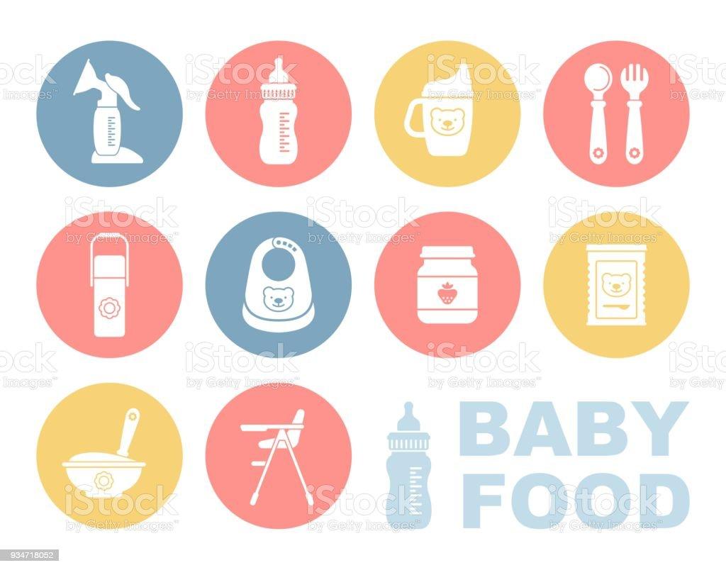 Baby food icon set vector art illustration