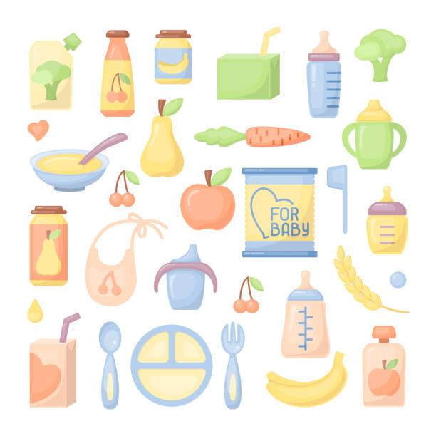 ベビー食品のアイコンを設定 - ベビーフード点のイラスト素材/クリップアート素材/マンガ素材/アイコン素材