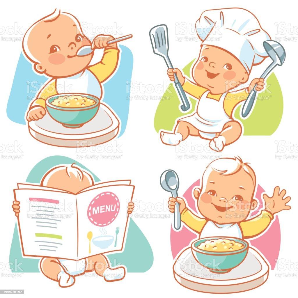 Baby food illustrations.