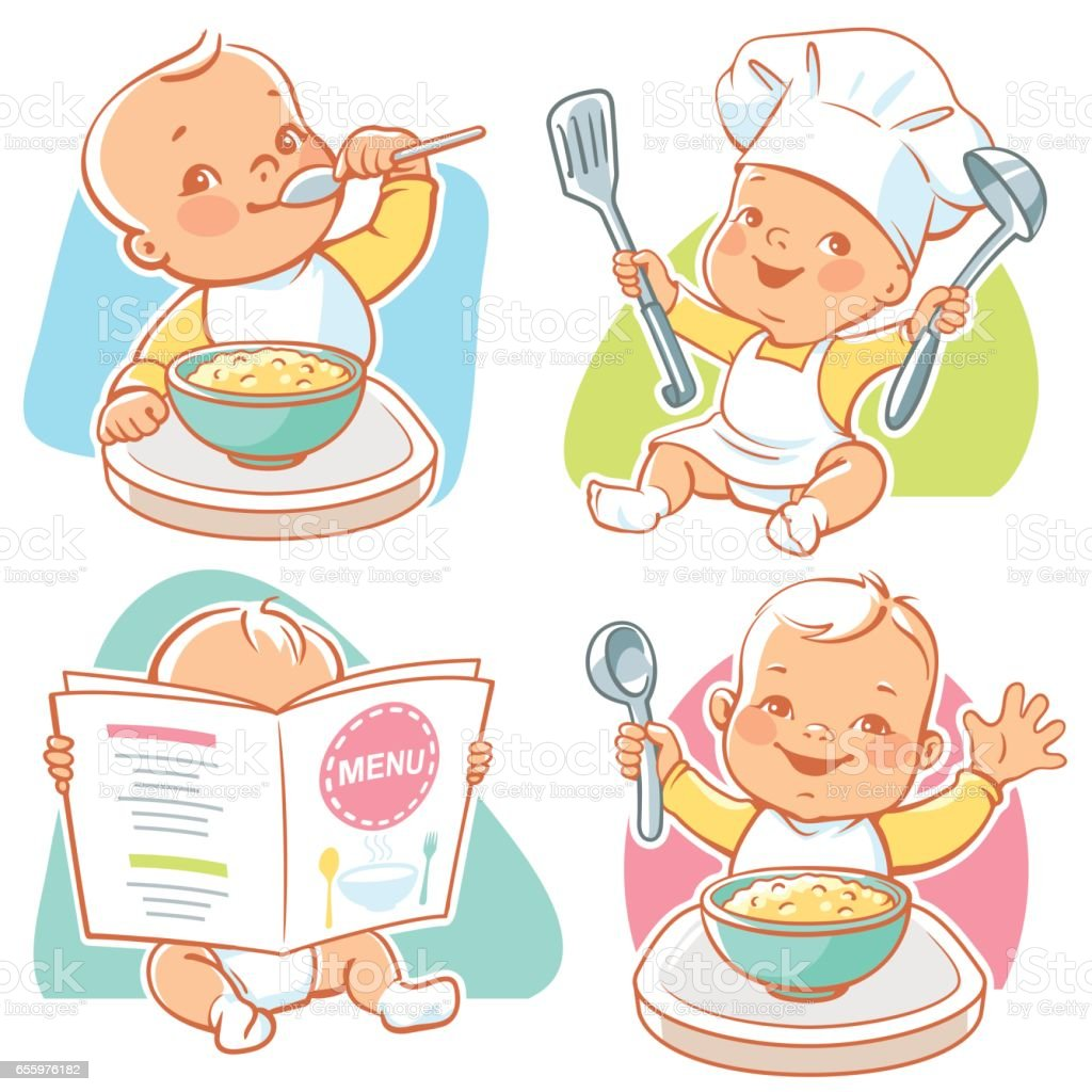 Baby food illustrations. vector art illustration