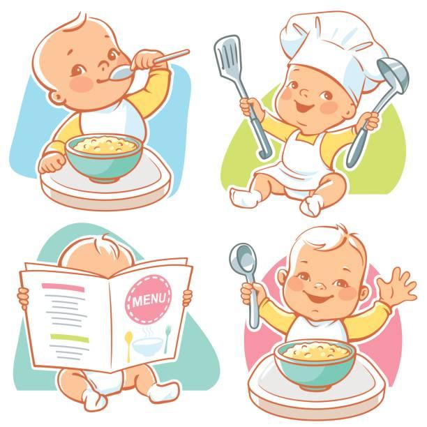 baby lebensmittel illustrationen. - wickeltisch stock-grafiken, -clipart, -cartoons und -symbole