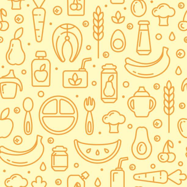 ベビーフードアイテムシームレスパターン - ベビーフード点のイラスト素材/クリップアート素材/マンガ素材/アイコン素材