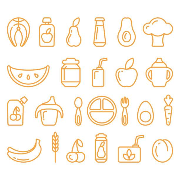 ベビーフードリニアアイコンセット - ベビーフード点のイラスト素材/クリップアート素材/マンガ素材/アイコン素材