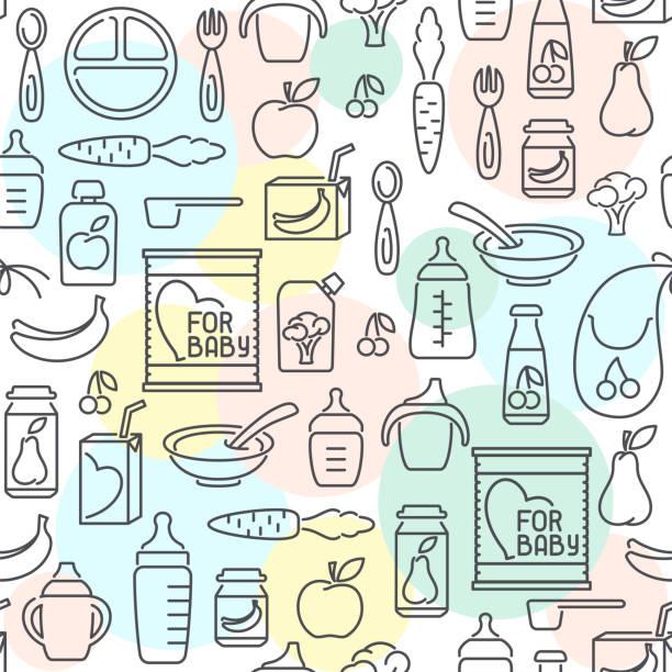 赤ちゃんの食のシームレス パターン - ベビーフード点のイラスト素材/クリップアート素材/マンガ素材/アイコン素材