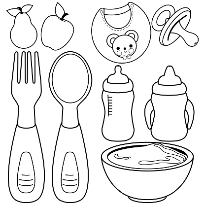 baby food tableware set black and white coloring book page vector id