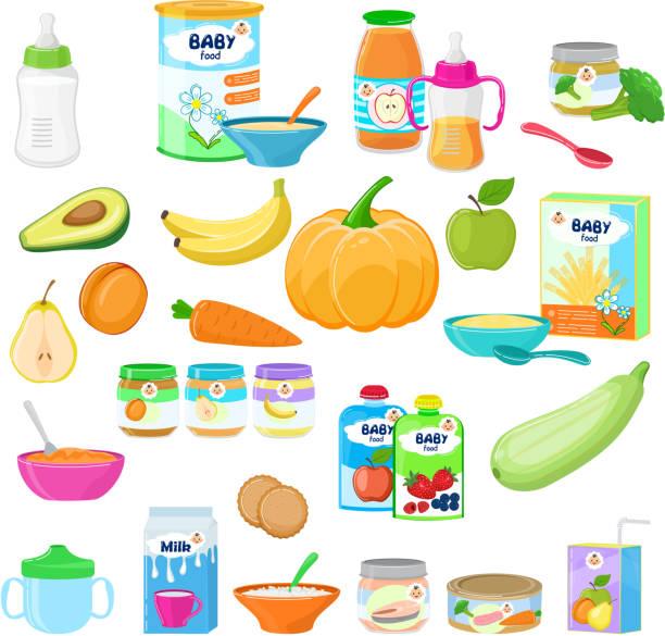 赤ちゃん食品ベクトル子健康栄養ミルク フレッシュ ジュース × f - ベビーフード点のイラスト素材/クリップアート素材/マンガ素材/アイコン素材