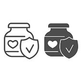 Baby food with approved emblem line and solid icon, first children food concept, Puree glass can with heart sign on white background, Checked jam jar icon in outline style for mobile and web. Vector