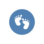 Baby foot Icon in trendy flat style isolated on background. Barefoot symbol for your web site design, logo, app, UI. Vector illustration, EPS10.