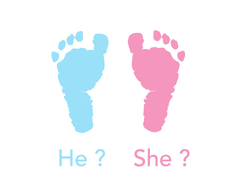 Baby foot prints. Baby gender reveal. Pink and blue foot prints background