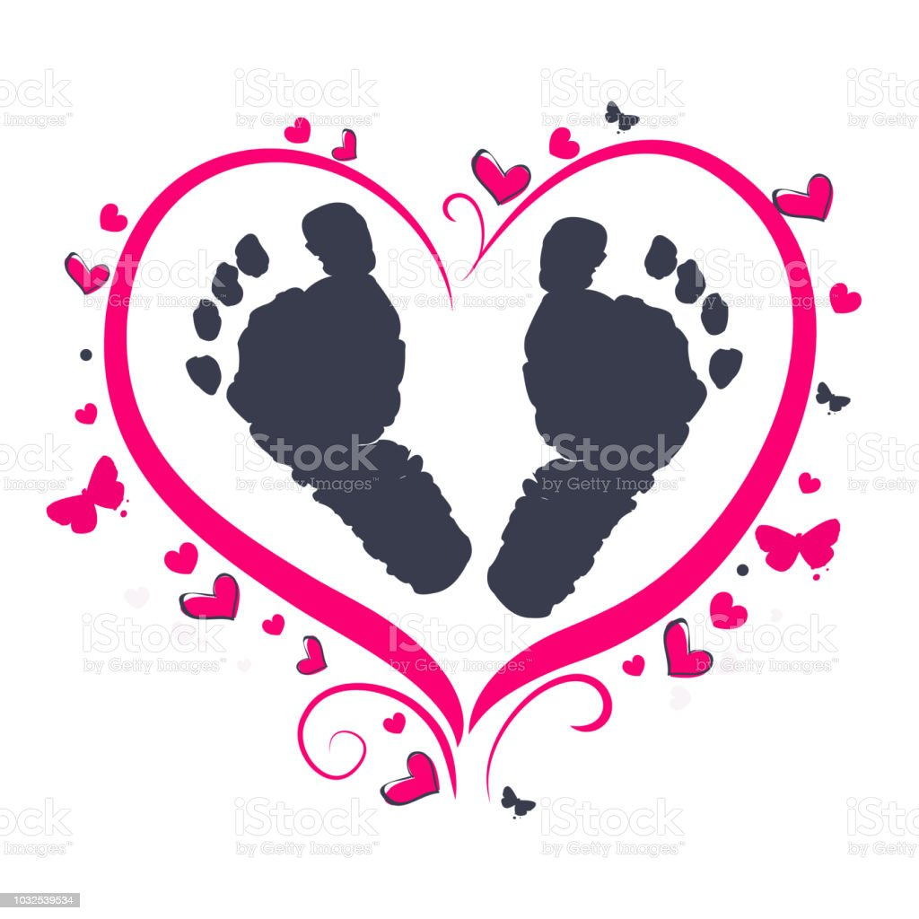 Baby foot prints with heart baby shower greeting card stock vector baby foot prints with heart baby shower greeting card royalty free baby foot prints with m4hsunfo