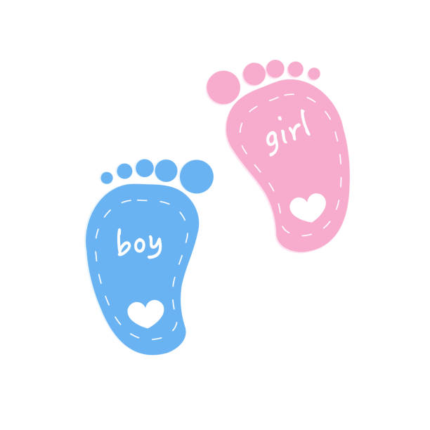 Baby footprints twin baby girl and boy Baby footprints twin baby girl and boy baby shower stock illustrations