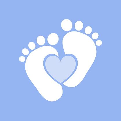 Baby footprints - vector illustration.