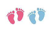 Baby footsteps vector illustration set - pairs of pink and blue footprints in flat style isolated on white background for baby shower or children birthday congratulation.