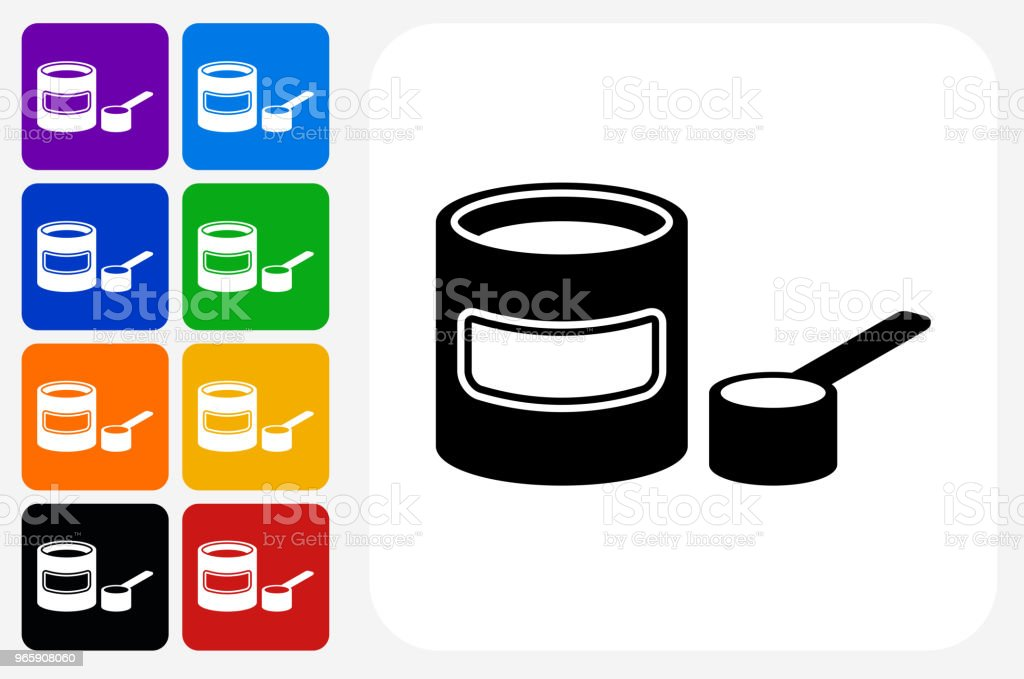Baby Formula Icon Square Button Set - Royalty-free Blue stock vector