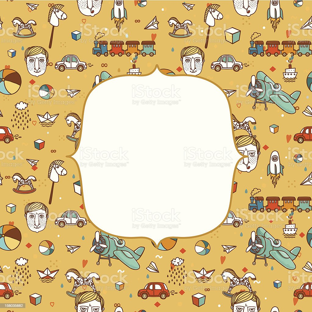 Baby frame with funny children pattern royalty-free stock vector art