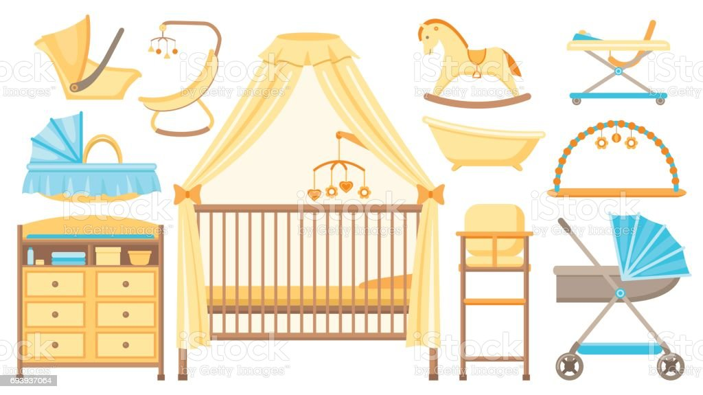 Baby furniture and equipment set. Vector illustration. vector art illustration